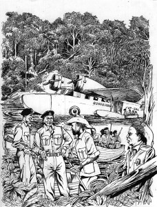 Operation Kingfisher (Artist's impression by Barrington Braithwaite)