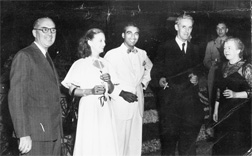 Mrs Janet Jagan (second left) at a function in colonial times. (Photo courtesy of Dr Cheddi (Joey) Jagan, Jnr)