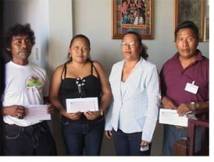 Minister of Amerindian Affairs Pauline Sukhai (second from right) with Toshaos (from left) Felix Williams, Julie Johnson and Ekufa Mewsha (GINA photo)