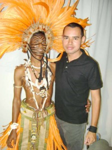 Damian Moore (right) and one of the Malick folk performers of T&T.