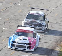 Current Caribbean champion driver Stuart Maloney of Barbados leading David Summerbell of Jamaica during one of his championship runs at the South Dakota Circuit last year November (photo compliments of www.GMR&SC.com)