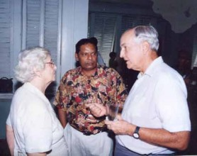 De Caires in conversation with Mrs Janet Jagan and Moses Nagamootoo at State House, 1990s