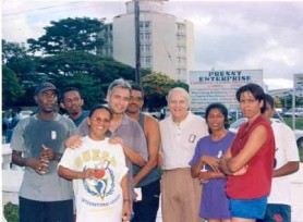 De Caires with son Brendan (fourth left) and Stabroek News staff on the Terry Fox Run. (From left) Steve Ninvalle, Orin Davidson, Miranda La Rose, Mike Da Silva, Desiree Jodah and Michelle Inasi