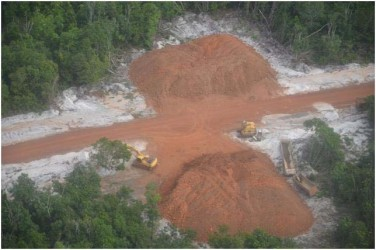 An aerial view of the Amaila Falls road works. (GINA photo)