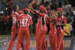Trinidad and Tobago celebrate another wicket during their 80-run victory over Guyana.