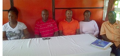 The newly elected Camptown FC executives from left to right- Alfrea Denny, James Bond, Leon Muir, Carlica Pollydore and Akram Sabree