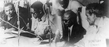 The Treaty of Chaguaramas that brought the Caribbean Community (CARICOM) into existence was signed in Chaguaramas, Trinidad and Tobago on 4 July 1973. The original signatories to the Treaty were (from left) Prime Ministers  Errol Barrow of Barbados, Forbes Burnham of Guyana,  Eric Williams of Trinidad and Tobago and Michael Manley of Jamaica. (Caricom Photo)