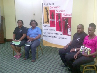 From left are Ida LeBlanc, NUDE General Secretary; Shirley Pryce, JHWA President; Alrick Daniel, Antigua Trades and Labour Union; Joycelyn Bacchus, Red Thread.
