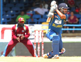 Kumar Sangakkara drives during his match-winning 90 (WICB photo)