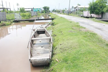 A boat in one of the main trenches in Victoria following heavy rainfall (Arian Browne photo)