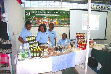 A display of agro products manufactured by the West Berbice YWCA