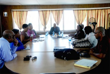 The Trinidad & Tobago business development delegation comprising representatives of the twin island's manufacturers association and the trade facilitation entity Export TT talking with local Chamber of Commerce President Clinton Urling (centre) and Immediate Past President Komal Ramnauth on Tuesday.