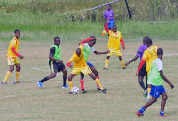Action in the Petra Organization's Milo Cup competition yesterday at the Ministry of Education ground, Carifesta Avenue. (Orlando Charles photo)