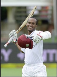 Kraigg Brathwaite celebrates his century during day 4 of the 2nd Test match between South Africa and West Indies at St. Georges Park yesterday in Port Elizabeth, South Africa. (Photo by Duif du Toit/Gallo Images)