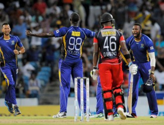 Jason Holder dominated for Barbados Tridents as they restricted Trinidad & Tobago Red Steel to 95/9 in their 20 overs. — at Kensington Oval Cricket Ground, Bridgetown, Barbados.