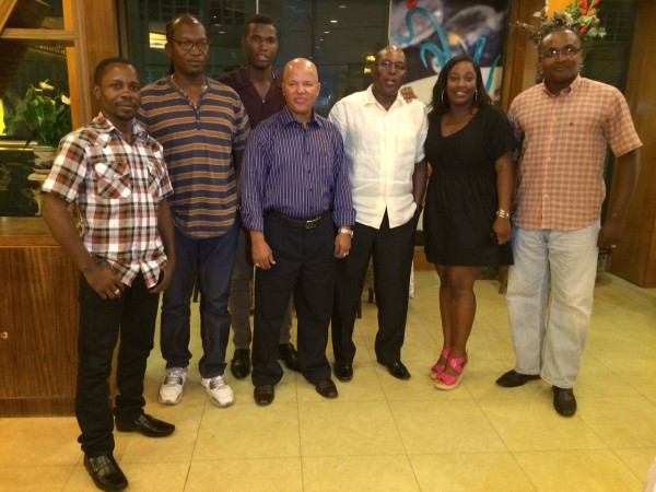 Cuban Coach, Francisco Hernandez Roldan (centre) along with the top brass of the GBA, pose for a photo opportunity following Monday night's farewell dinner at the New Thriving Restaurant. Roldan returns to Cuba after a fruitful three-year stint here.