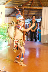Proud: Young Claudio Faria of Sand Creek performing the poem 'I am a Proud Amerindian' to resounding applause at the launch of Indigenous People's Month, held yesterday at the Sophia Exhibition Complex. (Keno George photo)