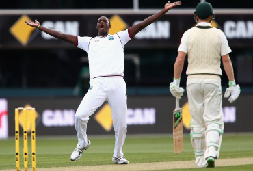West Indies Captain Jason Holder appeals unsuccessfully during the First Test match between Australia and the West Indies in Hobart, Australia. (Cricket Australia photo)