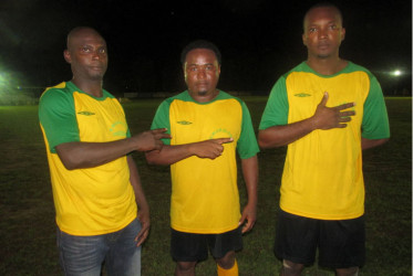 Kwakwani scorers from left to right-Shane Adams, Dale Sauers and Ray Leacock.