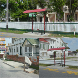Three of the five bus sheds in various stages of construction on Main Street and North Road.