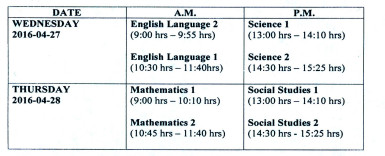 The Time- Table for the 2016 National Grade Six Assessments