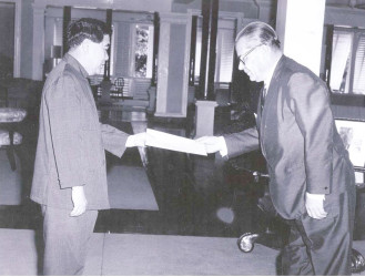 Flashback: April 30, 1971, Ambassador of the Union of Soviet Socialist Republics to Guyana S.S.Mikhailov (right) presenting his credentials to the then President of Guyana, Arthur Chung.