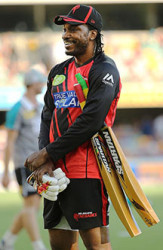 Gayle sporting his new bat (picture courtesy news corp Australia)