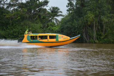 The David G V in motion on the Pomeroon River (Ministry of the Presidency photo)