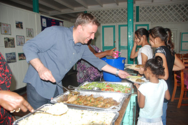 Ramada Georgetown Princess General Manager, Uger Turetgen sharing lunch to the girls.