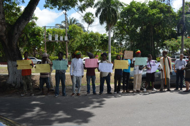 The picket line in front of the AG's Chambers yesterday