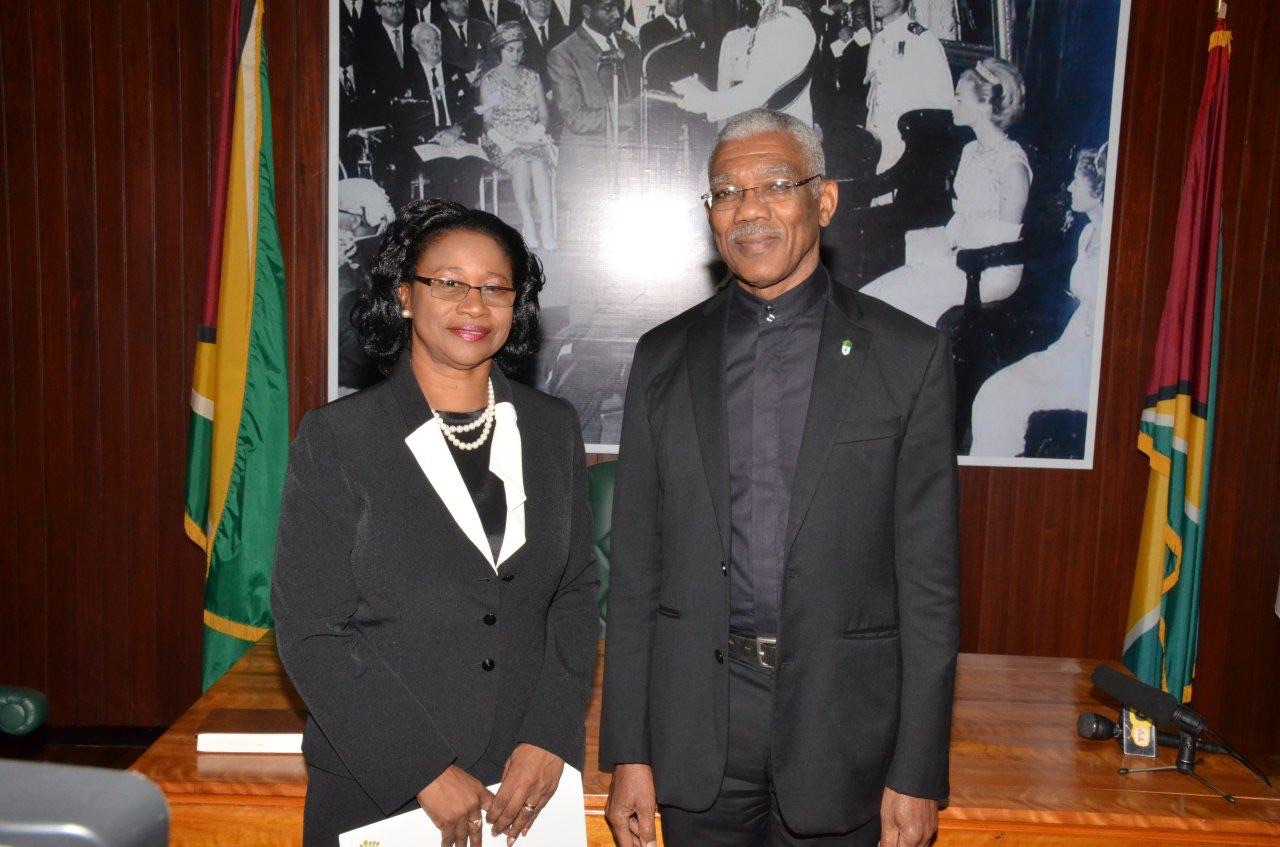 New acting Chief Justice Yonette Cummings-Edwards and President David Granger (Ministry of the Presidency photo)