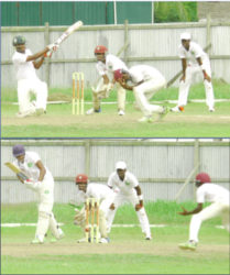 Action between Demerara and the U17 Select during day two of the GCB U19 3-day inter-county first-round match at Wales.