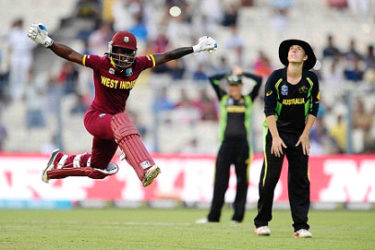 Batsman Deandra Dottin celebrates after guiding West Indies to victory in the final of the Twenty20 Women's World Cup.