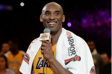 Los Angeles Lakers forward Kobe Bryant (24) smiles as he addresses the crowd after the Lakers defeat of the Utah Jazz in the final game of his career at Staples Center. Robert Hanashiro-USA TODAY Sports