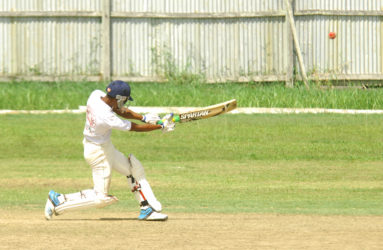 HOME AND DRY! Malcom Hubbard smashes a huge six to comfortably take Demerara home.
