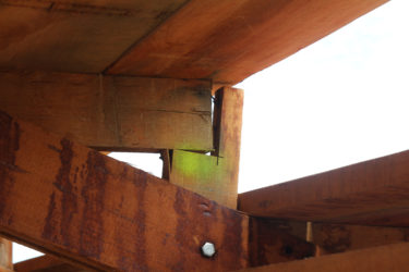 One of the supporting beams that was improperly joined