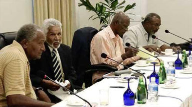 Some of the legends-Roberts, Murray, Hall and Griffith- during their meeting in Grenada.
