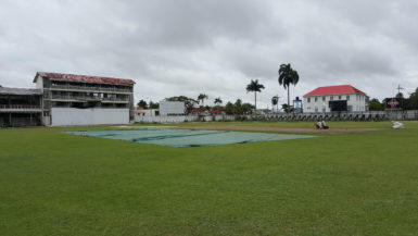 Covers on the pitch at the Bourda ground  yesterday