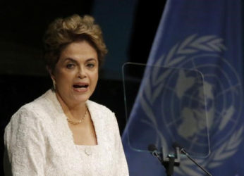 Brazilian President Dilma Rousseff delivers her remarks during the signing ceremony on climate change held at the United Nations Headquarters in Manhattan, New York, U.S., yesterday. REUTERS/Carlo Allegri