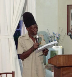 Ras Michael during a presentation in 2014 at Moray House (Moray House Trust photo)
