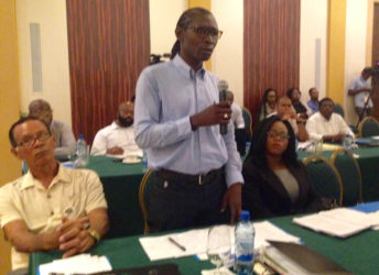 A participant speaking at the consultation