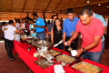A section of those who gathered at the launching as they sampled the varying indigenous dishes that were available yesterday.