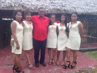 The Andrews Family- Colin Andrews flanked by his five daughters at the launching of their new restaurant.