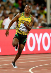 Julian Forte a member of the Jamaican squad which won the marquee sprint relay at the Penn Relays yesterday. (file photo)