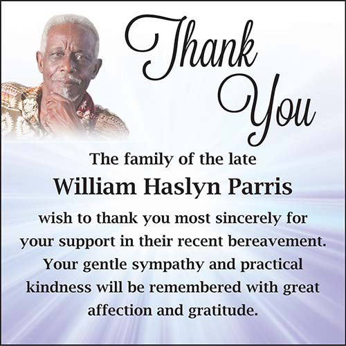 Haslyn Parris Thank You