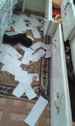 One of the ransacked rooms after the attack.