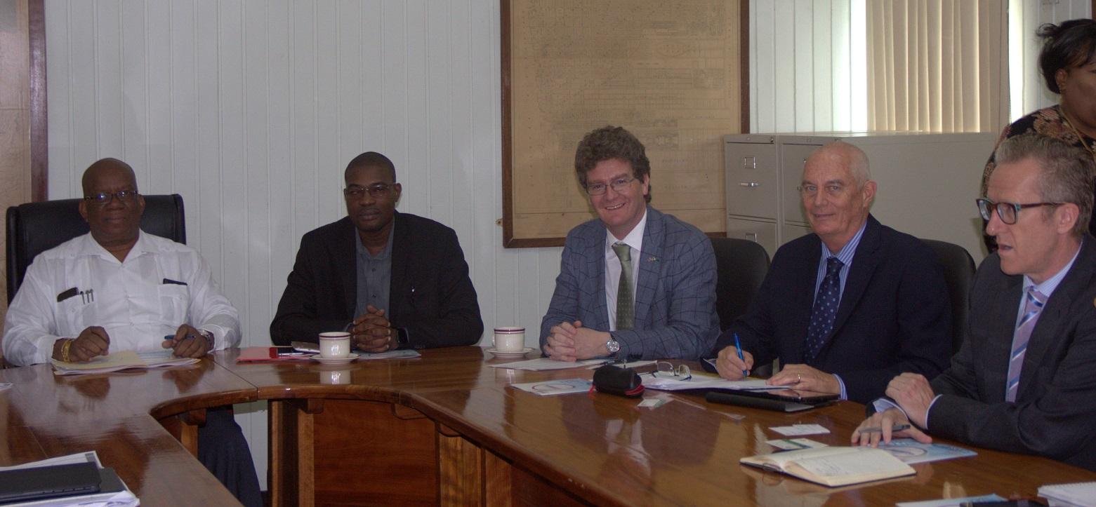 From left are Minister of Finance Winston Jordan, Minister of Public Infrastructure David Patterson, British High Commissioner to Guyana, Greg Quinn and other other officials. (Ministry of Finance photo)