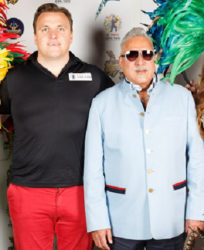 CPL chief executive Damien O'Donohoe (left) poses with Barbados Tridents owner Vijay Mallya, at the player draft back in February. (Photo courtesy CPLT20.com)