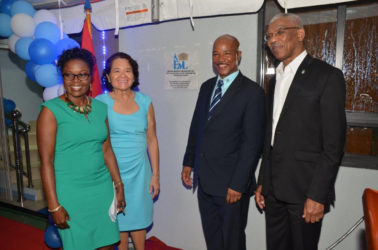 From left: Dr Karen Boyle, First Lady Sandra Granger, William Boyle and President David Granger after the unveiling of the plaque to officially commission the building.(Ministry of the Presidency photo)