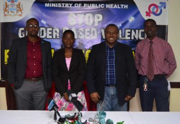 Petra Organization Co-Director Troy Mendonca (2nd from right), GFF President Wayne Forde (left), Health Education Officer of the Ministry of Health Joy Gravesande (2nd from right) and Petra Representative Mark Alleyne are all smiles following the launch of the Petra Organization Soft Shoe Football Championship
